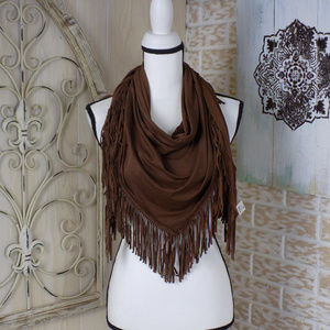Style 101 suede scarf with fringe